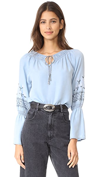 cupcakes and cashmere Kendi Embroidered Chambray Top - Chambray