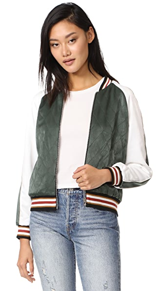 cupcakes and cashmere Brice Quilted Satin Bomber Jacket - Army