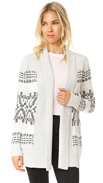 cupcakes and cashmere Raleigh Jacquard Cardigan - Heather Ash