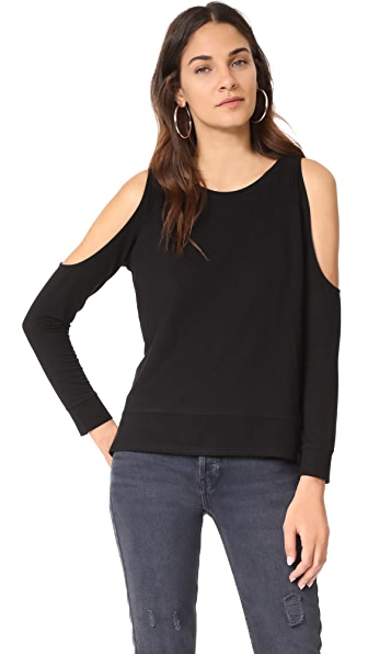 cupcakes and cashmere Mariam Cold Shoulder Sweatshirt In Black