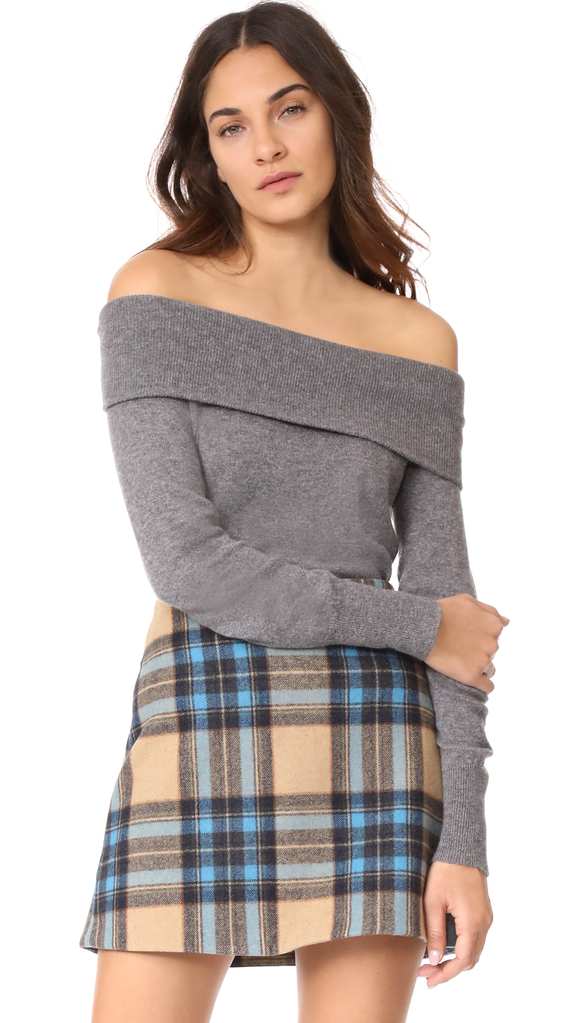 cupcakes and cashmere Roderick Cashmere Off Shoulder Sweater - Medium Heather Grey