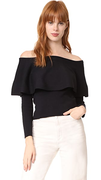 cupcakes and cashmere Otis Off Shoulder Sweater - Black