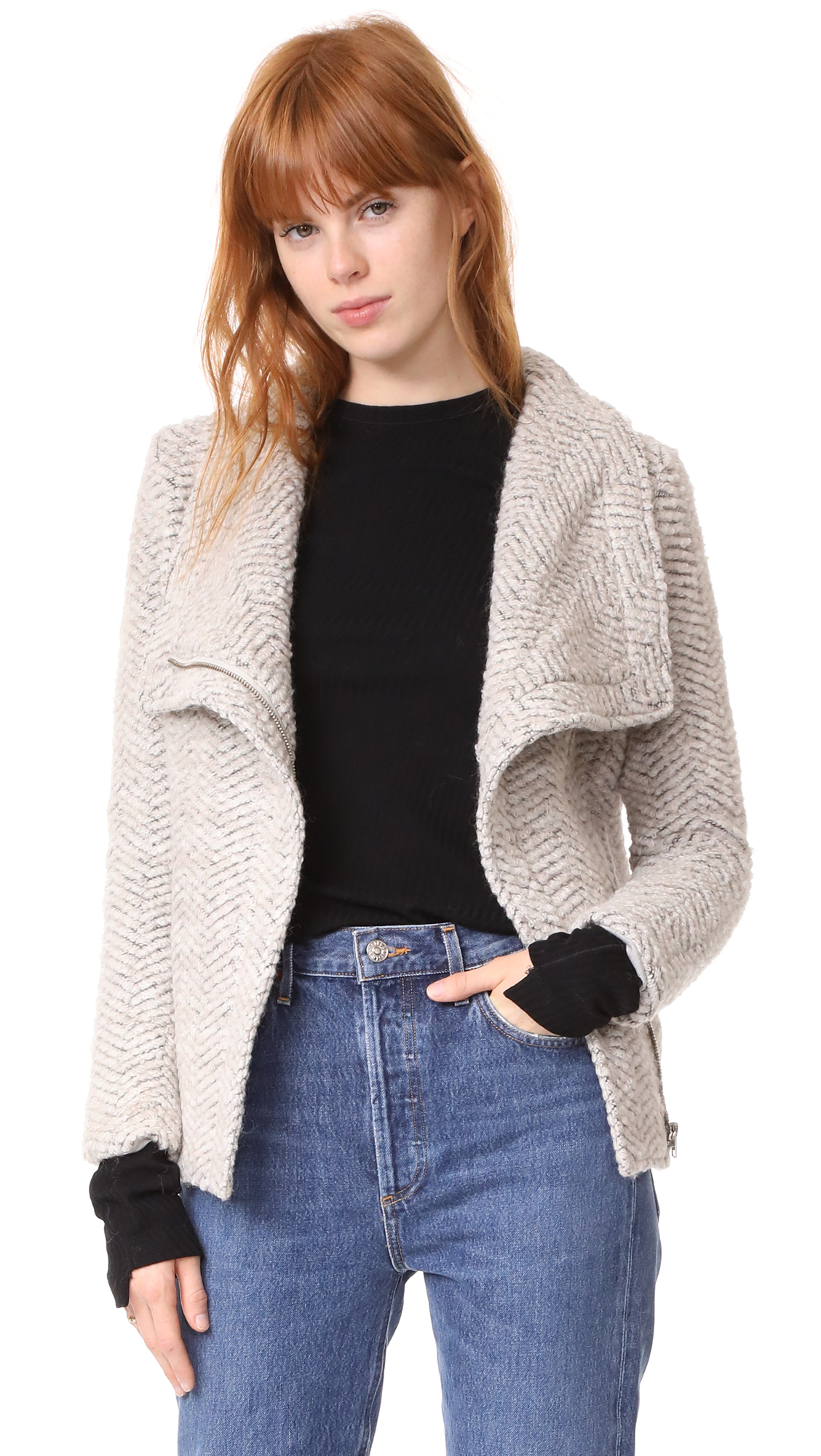 cupcakes and cashmere Dallas Asymmetrical Zip Jacket - Latte