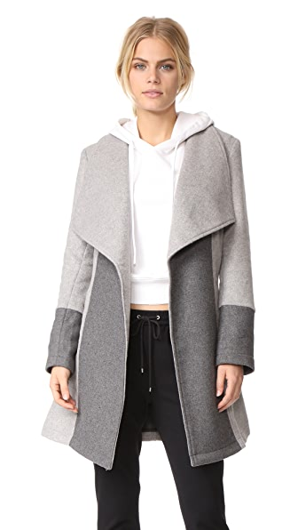 cupcakes and cashmere Akira Colorblocked Wrap Coat In Light Heather Grey
