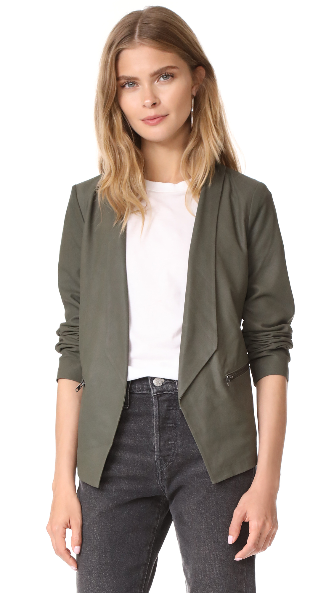 cupcakes and cashmere Deva Leather Jacket - Army