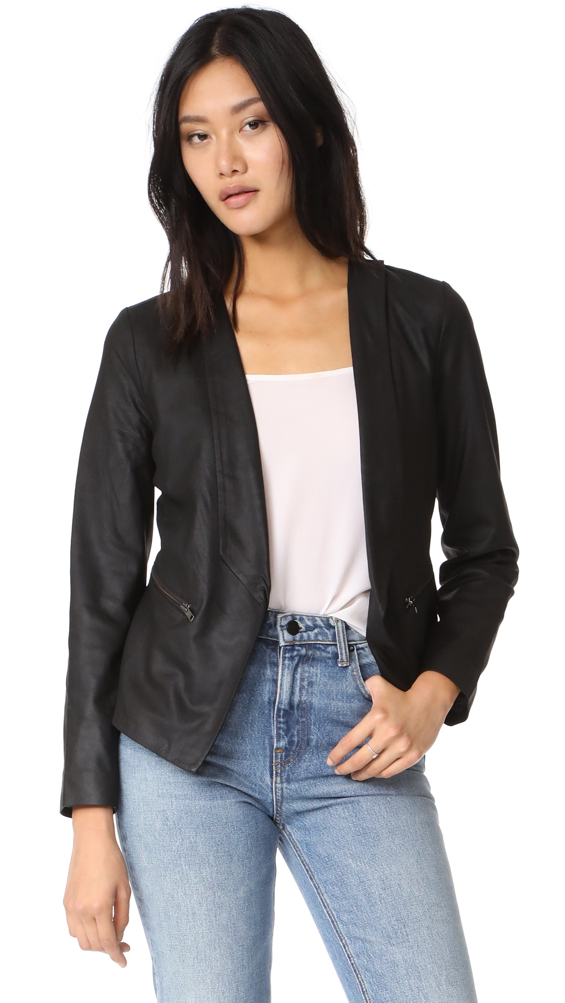 cupcakes and cashmere Deva Leather Jacket - Black