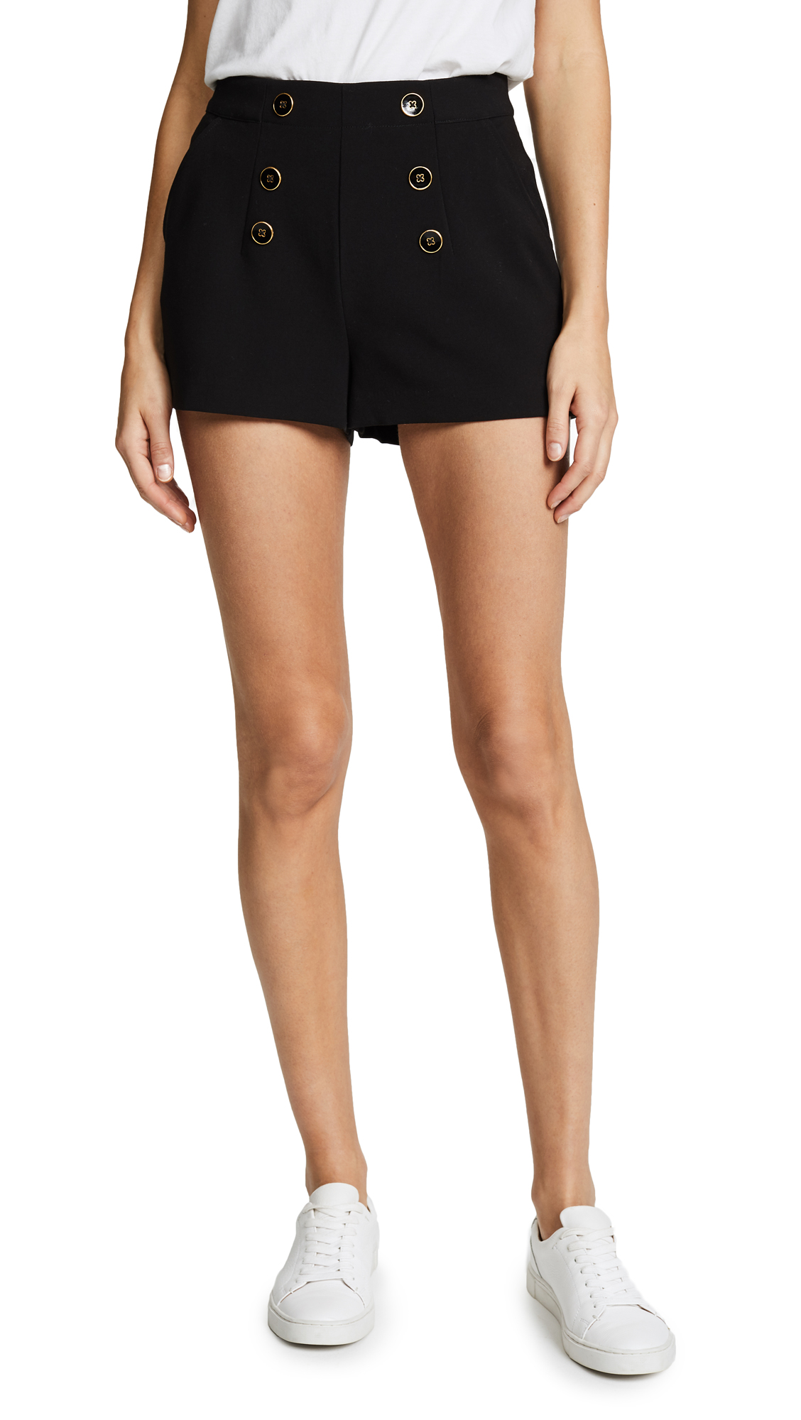 Eli Crepe Shorts With Buttons, Black