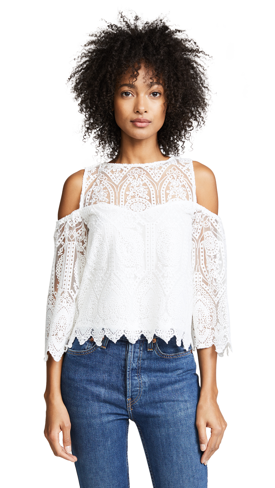 7fadcf4e35 Cupcakes And Cashmere Ally Cold-Shoulder Crochet Lace Top In Ivory