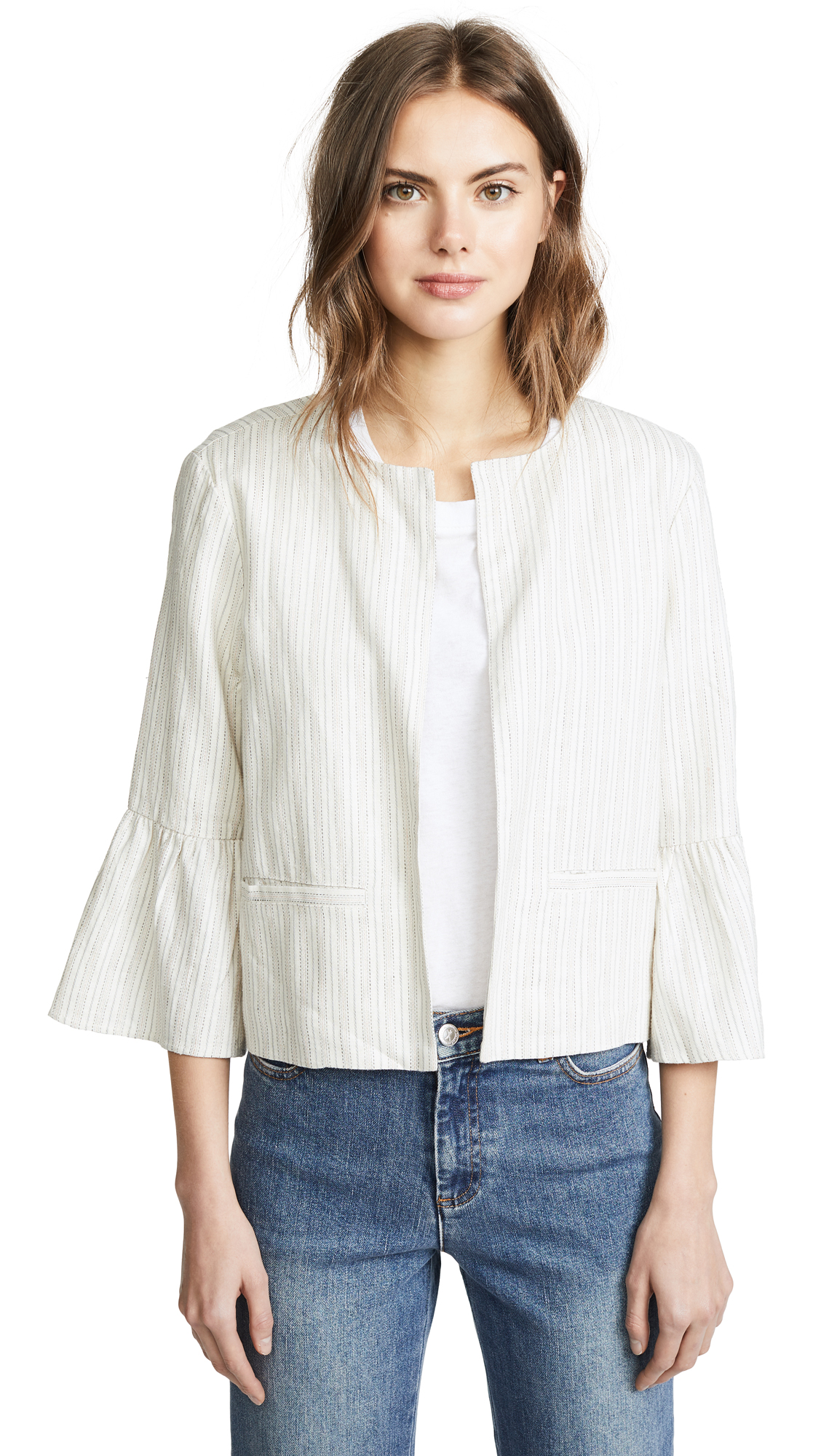 cupcakes and cashmere Aizzia Cropped Blazer In Ivory