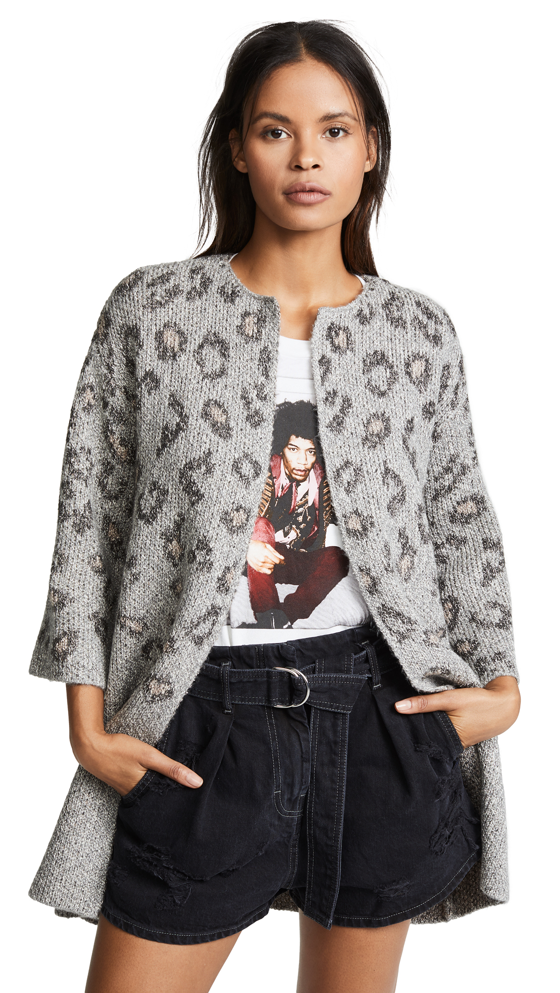 cupcakes and cashmere Kline Tonal Leopard Cardigan In Heather Grey