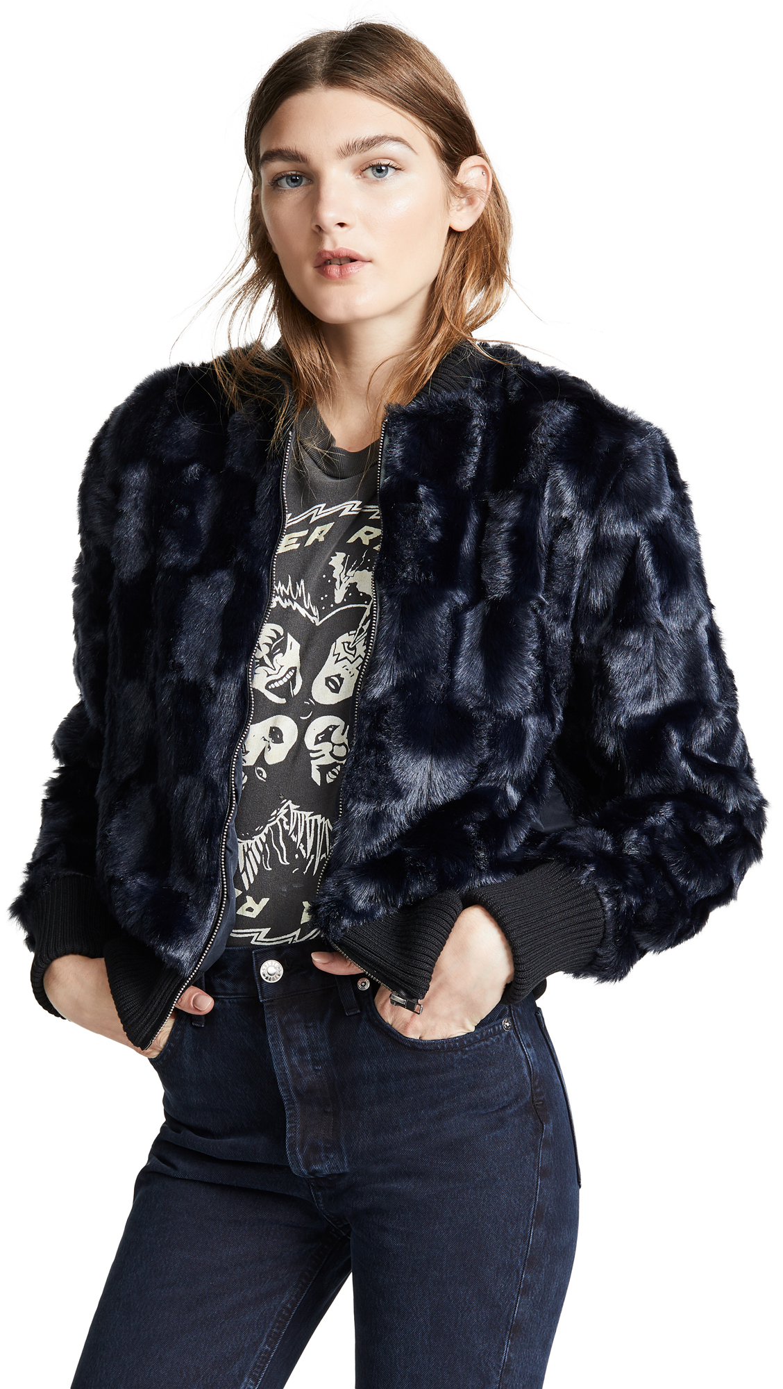 Amy Faux Fur Bomber Jacket in Ink