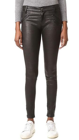 Current/Elliott Кожаные брюки с прорезными карманами