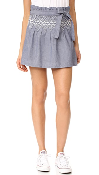Current/Elliott The Short Rancher Skirt - Chambray with Off White