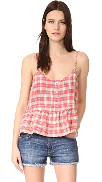 Current/Elliott The Workwear Peplum Top - Redwood Plaid