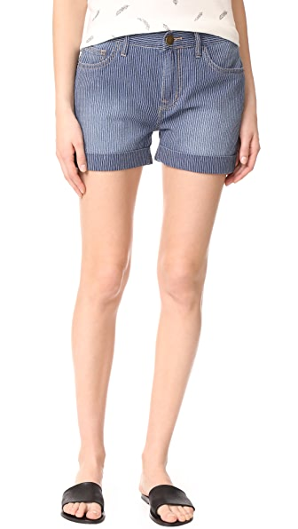 Current/Elliott The Rolled Boyfriend Shorts - Railroad Stripe