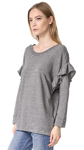 Current/Elliott The Ruffle Sweatshirt - Heather Grey