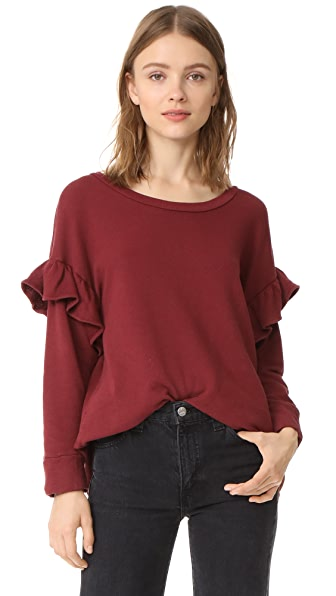 Current/Elliott The Ruffle Sweatshirt - Cabernet