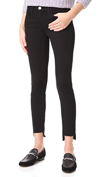 Current/Elliott The Stiletto Jeans with Uneven Hem - Jet Black with Uneven Hem