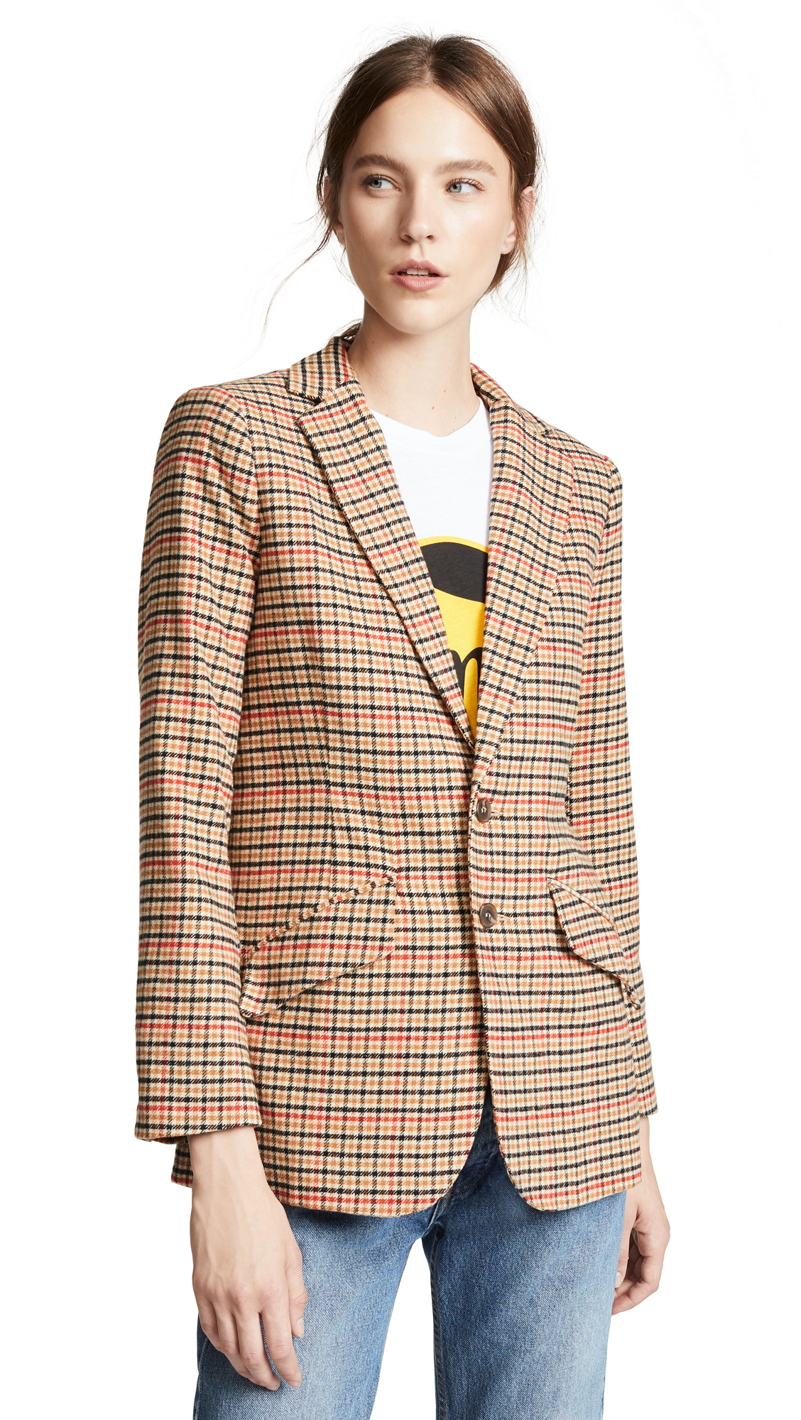 Current/Elliott The Date Night Blazer - Large Houndstooth