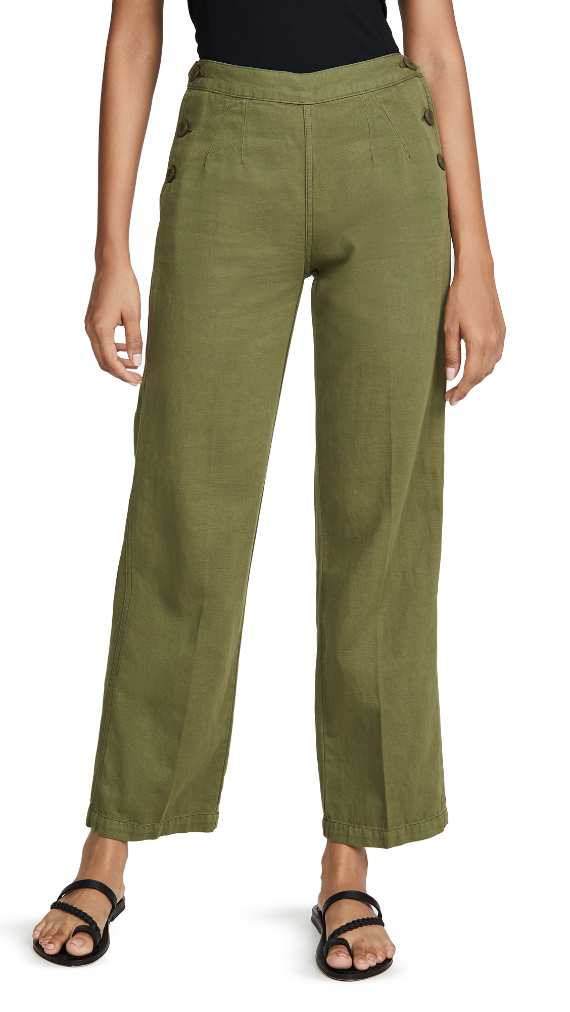 Current Elliott The Military Cropped Camp Pants In Army Green