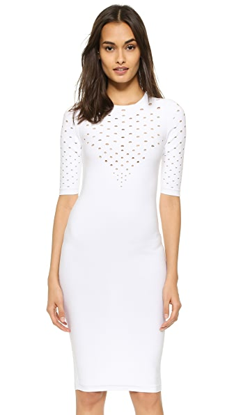 Cushnie Et Ochs Perforated V Neck Dress
