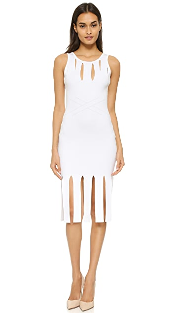 Cushnie Et Ochs Cutout Sleeveless Fringed Dress