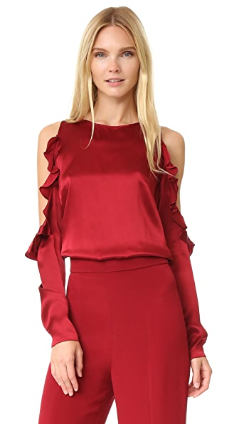 Cushnie Et Ochs Cold Shoulder Top - Ruby