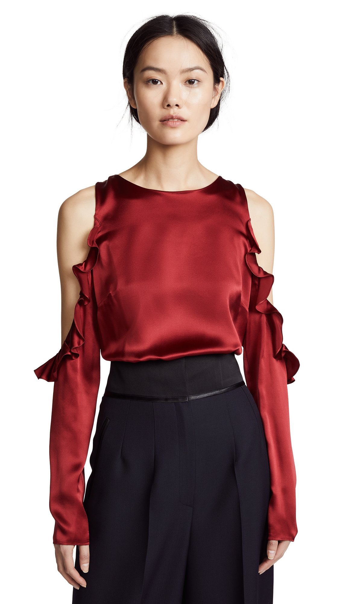 Cushnie Cold Shoulder Top - Ruby