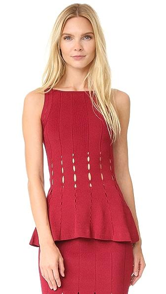 Cushnie Et Ochs Knit Peplum Top - Ruby