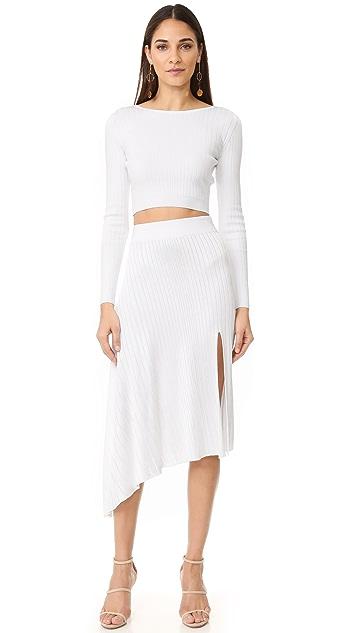 Cushnie Et Ochs Asymmetrical Drape Midi Skirt
