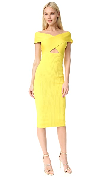 Cushnie Et Ochs Off the Shoulder Pencil Dress - Yellow