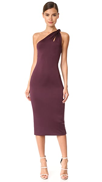 Cushnie Et Ochs One Shoulder Dress with Twisted Strap In Currant
