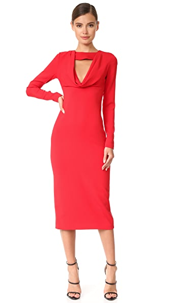 Cushnie Et Ochs Pencil Dress with Cowl - Poppy