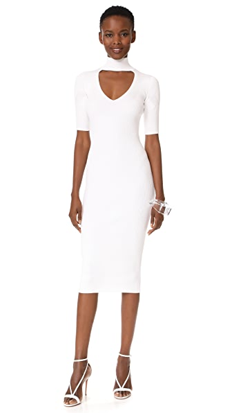 Cushnie Et Ochs Cutout Turtleneck Pencil Dress - White