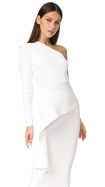 Cushnie Et Ochs LS One Shoulder Top