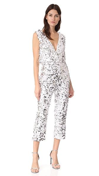 Cushnie Et Ochs Triangle Sequin Crop Jumpsuit In White/Silver