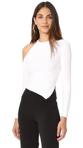 Cushnie Et Ochs Long Sleeved Single Shoulder Crop Top - White