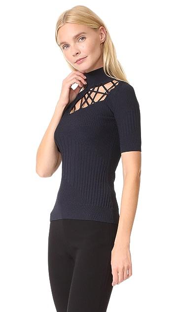 Cushnie Et Ochs Short Sleeve Mock Neck Top with Lacing