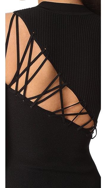 Cushnie Et Ochs Thong Bodysuit with Back Lacing
