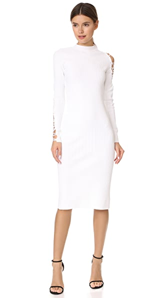 Cushnie Et Ochs Midi Dress with Fractured Lacing In White