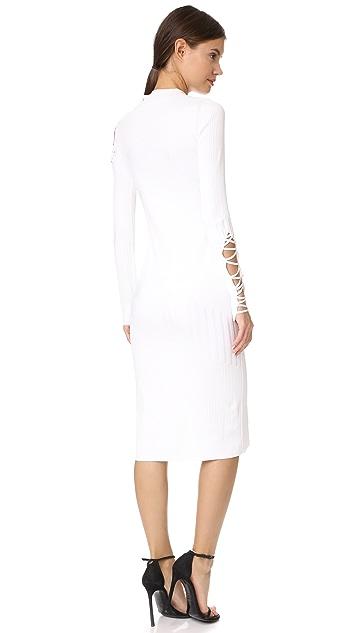 Cushnie Et Ochs Midi Dress with Fractured Lacing