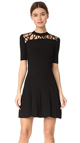 Cushnie Et Ochs Short Sleeve Flare Dress with Fractured Lacing In Black