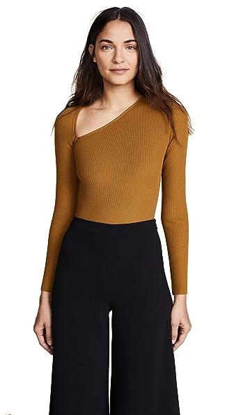 Cushnie Et Ochs Vivian Long Sleeve Asymmetrical Bodysuit In Amber