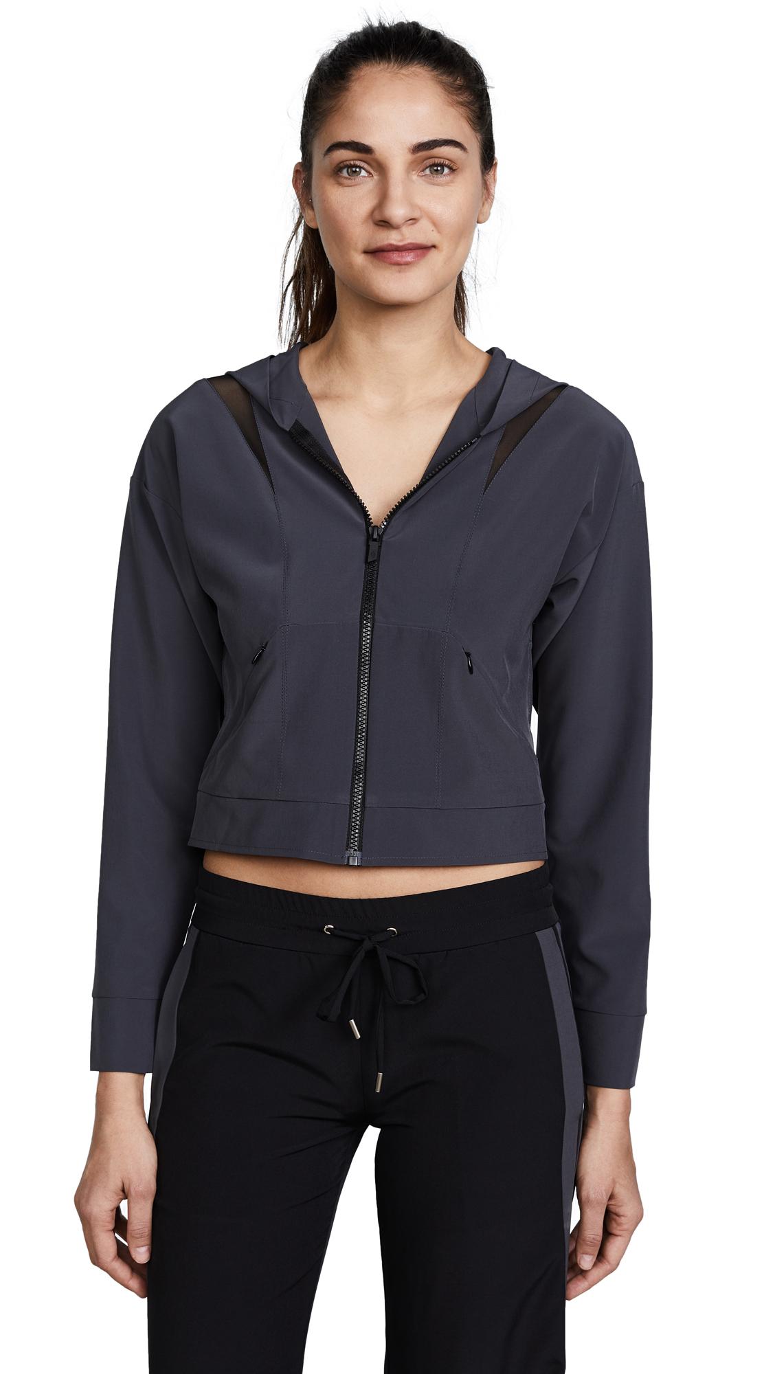 Cushnie Et Ochs Selma Hooded Zip Up Jacket In Titanium