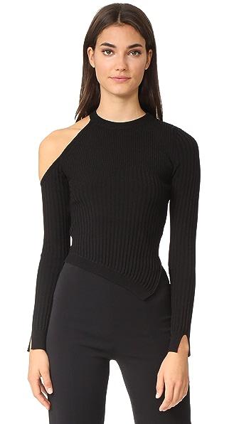Cushnie Et Ochs Long Sleeved Single Shoulder Crop Top - Black