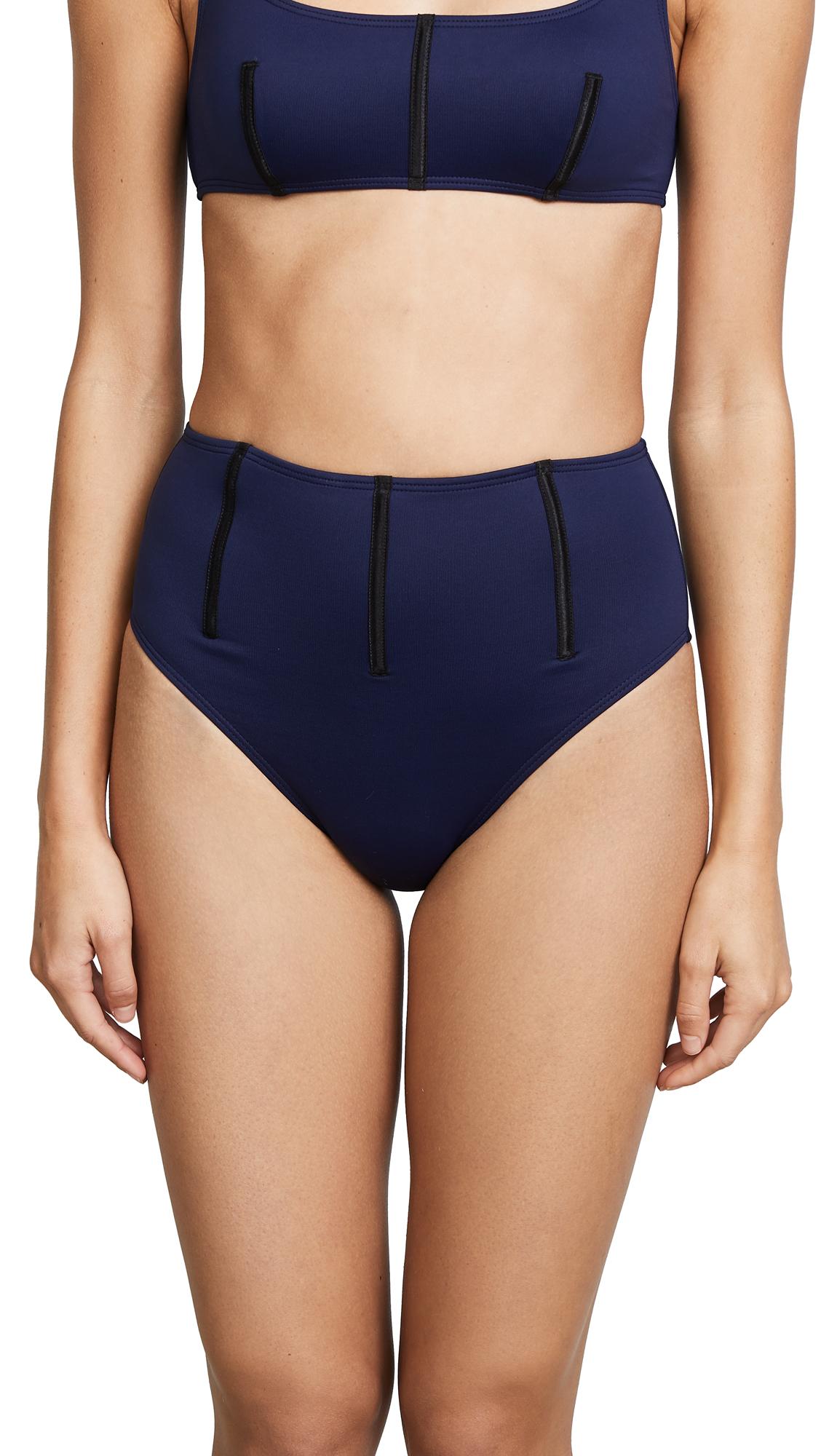 Cushnie Et Ochs Remy High Waisted Bikini Bottom with Boning Detail
