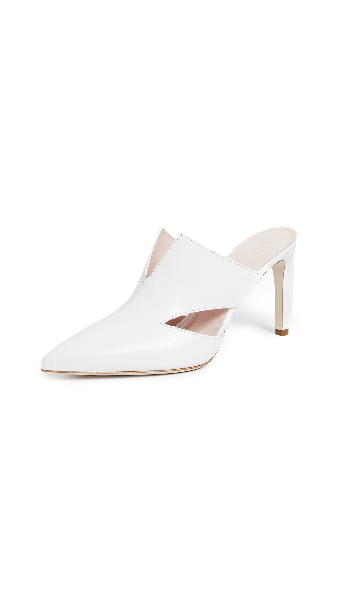 Cushnie Et Ochs Marcel Mules with Triangle Cutouts - White