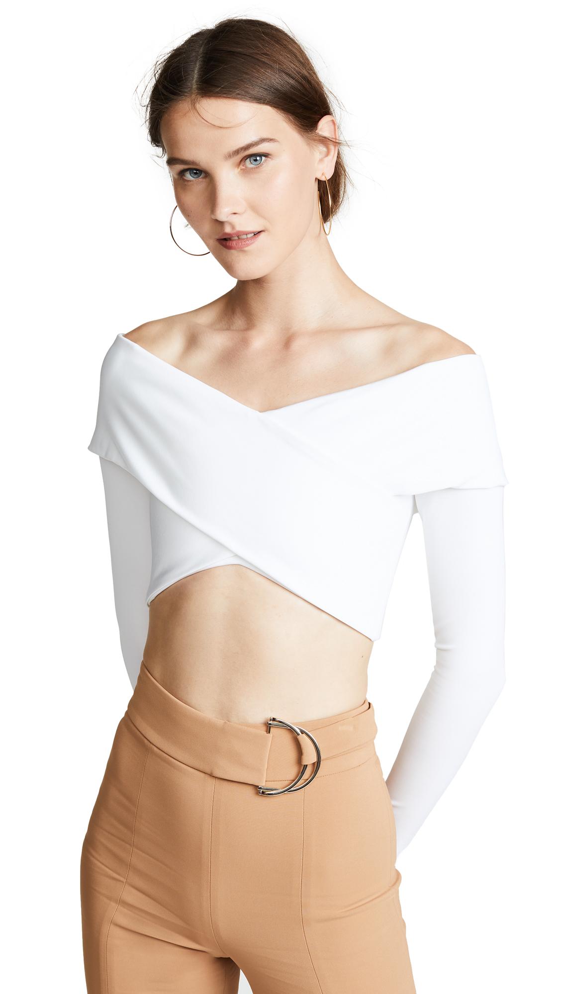 Cushnie Long Sleeve Crop Top - White