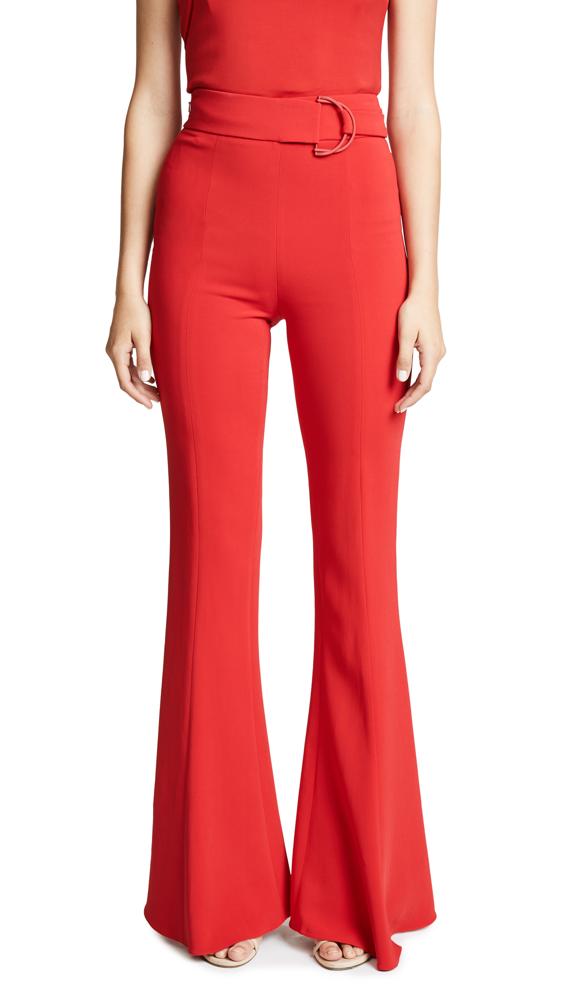 Cushnie Et Ochs High Waist Flares with D Ring Buckle In Poppy