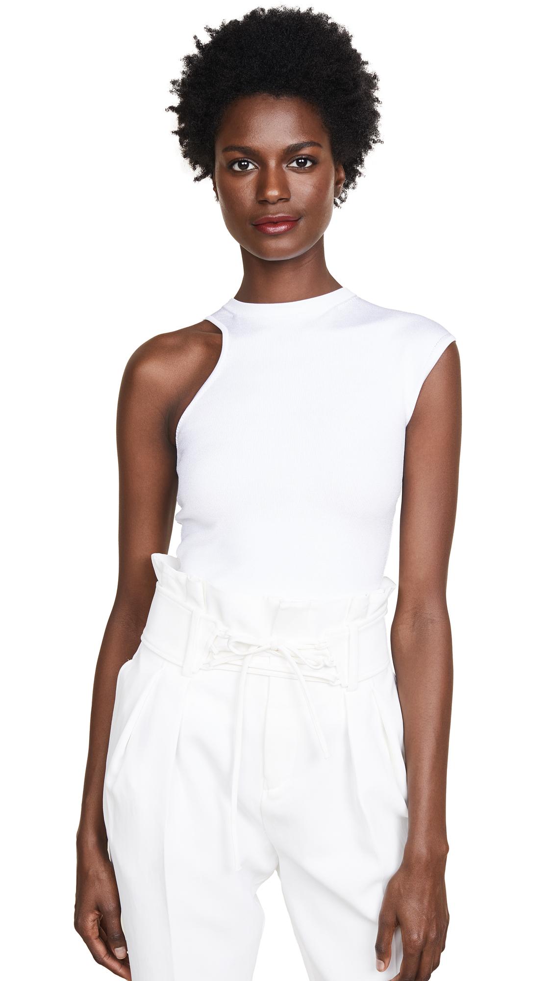 CUSHNIE ET OCHS One-Shoulder Cap-Sleeve Jersey Knit Top in White